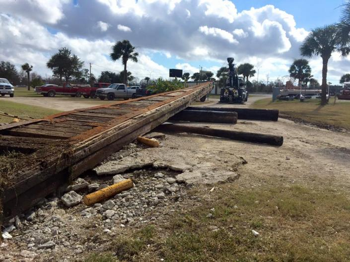 A wooden ship launcher that has been snagging boats and possibly damaging boat propellers was removed from the Sabine River canal by Gilbeaux's Towing.